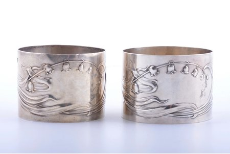 pair of serviette holders, silver, 950 standart, 94.25 g, France, Ø 5.2 cm, h 3.8 cm