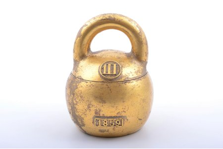 weight, bronze, gold plated, Russia, 1859, 11.5 x 9.1 x 8.9 cm, weight 832.20 g