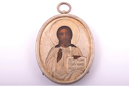 icon, Jesus Christ Pantocrator, silver, painting, 84 standart, Russia, 1908-1917, 7.1 x 5.5 x 1.1 cm