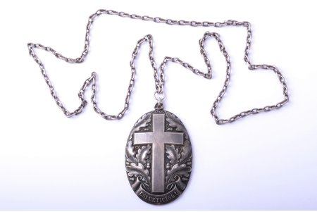 """titular badge, Сhurchwarden, """"Esi uzticīgs!"""" (""""Be faithful""""), Evangeline-Lutheran community in Drusti, silver, 875 standart, Latvia, the 30ies of 20th cent., 82.3 x 53.2 mm, silver chain (875 standard), total weight (with chain) 100.60 g"""
