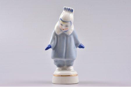 figurine, A girl wearing coat (Winter), porcelain, Riga (Latvia), USSR, Riga porcelain factory, molder - Rimma Pancehovskaya, the 60ies of 20th cent., 9.6 cm, first grade