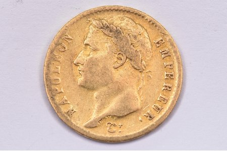 20 francs, 1808, M, gold, France, 6.35 g, Ø 21 mm, VF