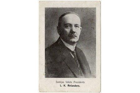 postcard, President of Finland L.K. Relander, Latvia, 20-30ties of 20th cent., 13.5 x 9.1 cm