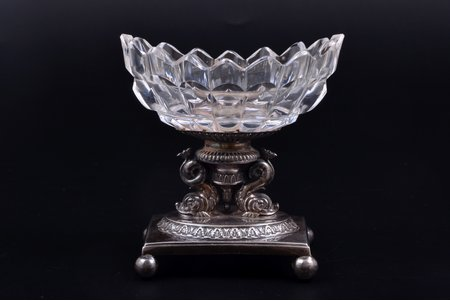 caviar server, silver, 950 standart, glass, 1819-1838, total weight of item 158.30g, France, h 9 cm, chip on the edge
