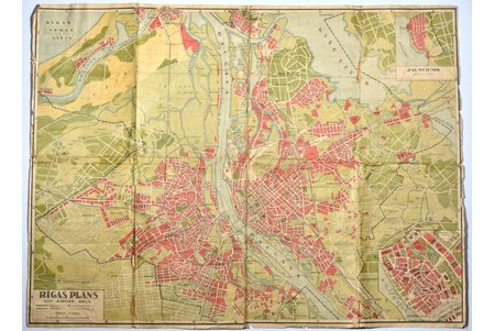 map, Riga plan, published by J. Roze, Latvia, 20-30ties of 20th cent., 66 x 88.5 cm, torn and glued along folding lines