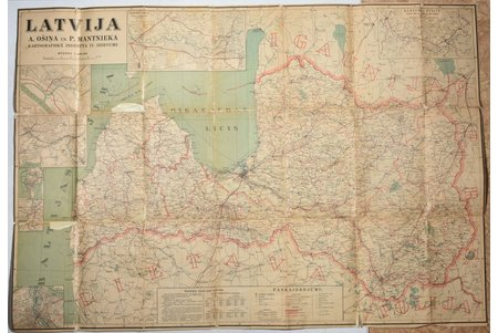map, Latvia, publisher: A. Ošiņa un P. Mantnieka kartogrāfiskais institūts, Latvia, 20-30ties of 20th cent., 88.5 x 128.5 cm, torn and glued