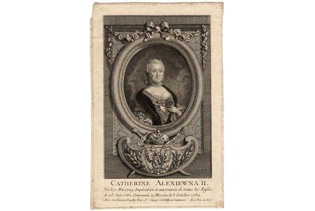 Lebeau, Pierre Adrien (1744/48-ca. 1817), Portrait of Empress Catherine II (Catherine Alexiewna II), paper, graphic, 15.7 x 10.4 cm