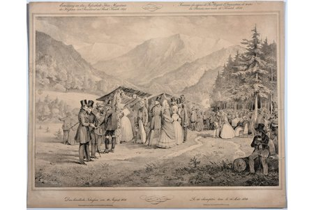 Commemoration of the stay of the Empress of Russia in the Bad Kreuth 1838., paper, graphic, 29.6 x 42.1 cm, published by Christian Weifs in Würzburg