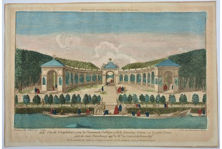 "A view of the Amphitheatre for Public Promenade at the island Kamannoi Ostrow on the small Newa near Saint Petersburg, Russia, end of the 18th century, paper, engraving, 24.4 x 39.9 cm, optical print, also called ""vue optique"" or ""vue d'optique"", which were made to be viewed through a Zograscope, or other devices of convex lens and mirrors, all of which produced an optical illusion of depth. Engraving/etching with original hand colouring"