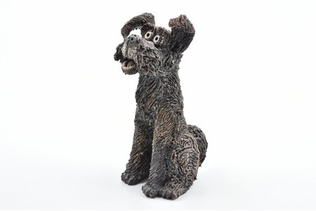 figurine, dog, ceramics, Riga (Latvia), USSR, sculpture's work, molder - Valdis De Burs, the 50-60ies of 20th cent., 14 cm