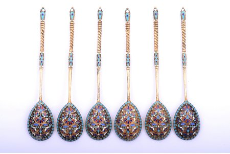 set of 6 teaspoons, silver, 84 standart, cloisonne enamel, gilding, 1880-1890, 129.70 g, by Gutav Klingert, Moscow, Russia, 14 cm