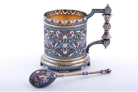 tea glass-holder with teaspoon, silver, 84, 88 standart, cloisonne enamel, gilding, 1893, total weight of items 308.45g, workshop of Alekseev Nikolay Vasilyevich, Moscow, Russia, h (glass holder with handle) 11 cm, Ø (inside) 7.3 cm, spoon 14.4 cm