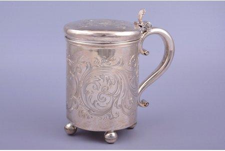 beer mug, silver, 84 standart, engraving, 1852, 557.25 g, by Tegelsten Carl Johann, St. Petersburg, Russia, 17.2 cm