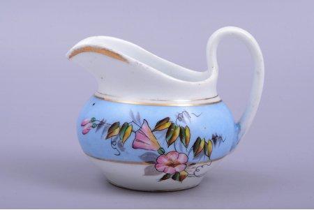 cream jug, porcelain, hand-painted, manufactory of Karyakin and Rahmanov, Russia, 1886-1894, h 8.8 cm