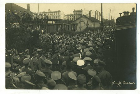 photography, Riga, soldier demonstrations, Latvia, Russia, beginning of 20th cent., 13,4x8,8 cm
