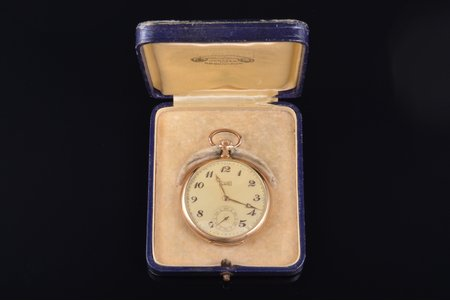 """pocket watch, """"Chopard"""", Switzerland, gold, 14 K standart, 67.56 g, 5.9 x 5 cm, 50 mm, in a case, working well"""