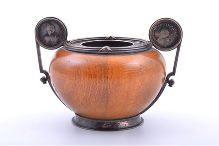 ink-pot, silver, 88 standart, wood, 1898-1904, total weight of item 161g, Nevalainen Ander Johan, St. Petersburg, Russia, 6.7 x 9.3 x 7.4 cm