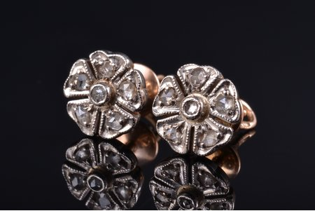 earrings, gold, 583 standart, 3.39 g., the item's dimensions 0.9 x 0.9 cm, diamond, USSR, 2 x 6 diamonds ~ 0.05 ct