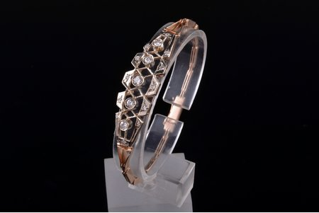 a bracelet, gold, 583 standart, 13.28 g., diamonds, 5 brilliants ~0.1-0.15 ct and 12 brilliants ~0.05 ct, bracelet length 17.8 cm