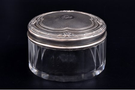 case, silver, 950 standart, gilding, glass, weight of silver lid 62.30g, France, Ø 10.6 cm, h 6.9 cm