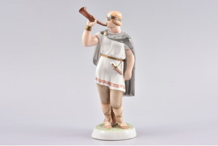figurine, Talava Trumpet-player, porcelain, Riga (Latvia), Riga Ceramics Factory, signed painter's work, handpainted by Mirdza Januza, 1940, 22.5 cm