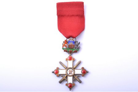 "the Order of Vesthardus with swords, 5th class, NEW TAPE, silver, enamel, 875 standart, Latvia, 1938-1940, ""Vilhelms Fridrichs Müller"" manufactory"