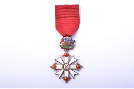 "the Order of Vesthardus, 5th class, NEW TAPE, silver, enamel, 875 standart, Latvia, 1938-1940, ""Vilhelms Fridrichs Müller"" manufactory"