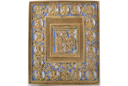 icon, Saint martyrs Quriaqos and Julietta, copper alloy, 2-color enamel, Russia, the border of the 19th and the 20th centuries, 13.9 x 11.9 x 0.4 cm, 305 g.