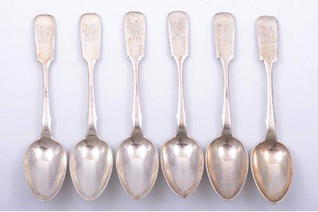 set of 6 soup spoons, silver, 84 standart, 266.50 g, by Richard Ferdinand Windisch, Latvia, Russia, 18 cm