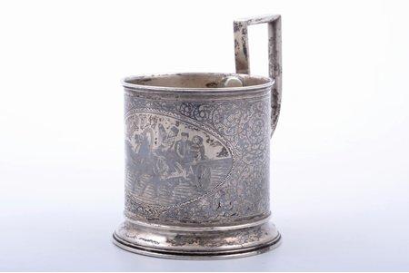 "tea glass-holder, silver, 84 standart, ""Troika"", niello enamel, 1908-1917, 114.60 g, Kazakov Semyon, Moscow, Russia, h (with handle) 10.4 cm, Ø (inside) 6.7 cm, soldering of the handle"