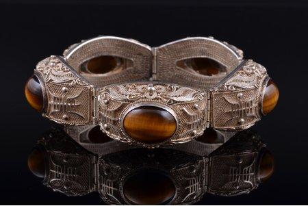 a bracelet, silver, 925 standart, 51.36 g., tiger's eye, China, bracelet lenghth 17.7, stone size 1.1 x 1.5 cm