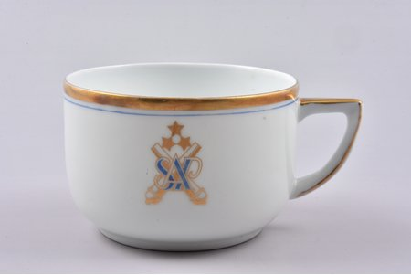 small cup, Heavy artillery division, h 5.4 cm, porcelain, M.S. Kuznetsov manufactory, Latvia, 1934-1936