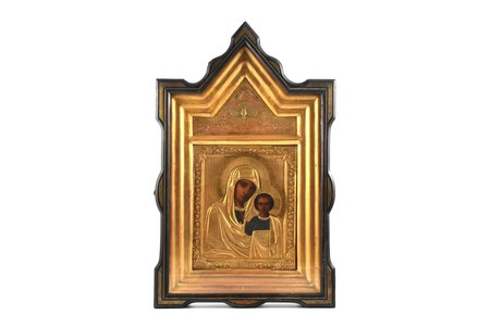 икона, Казанская икона Божией матери, в киоте, доска, живопиcь, латунь, Российская империя, конец 19-го века, 27 x 22.5 x 2 см, киот 59 x 37 x 7.7 см