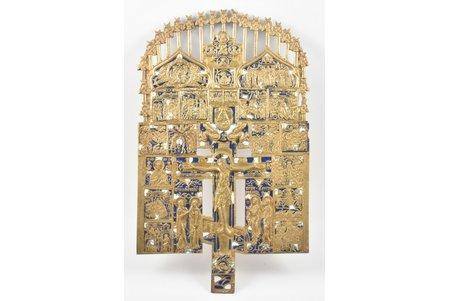 крест, Распятие Христово, бронза, 2-цветная эмаль, Российская империя, начало 20-го века, 38.7 x 23.5 x 0.55 см, 1877.60 г.
