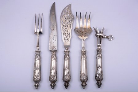 set of 5 flatware items, silver/metal, 950 standart, total weight of items 745.50g, France, 32.7 - 21.7 cm