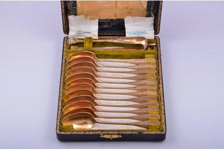 set of 12 teaspoons and sugar tongs, silver, 800 standart, gilding, 282.85 g, France, spoon - 14.8 cm, sugar tongs 14.7 cm, in a box