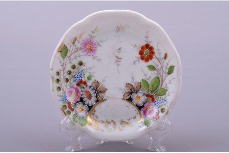 jam dish, porcelain, M.S. Kuznetsov manufactory, signed painter's work, handpainted by Vera Fyodorova, Riga (Latvia), 1937-1940, Ø 8.4 cm, first grade