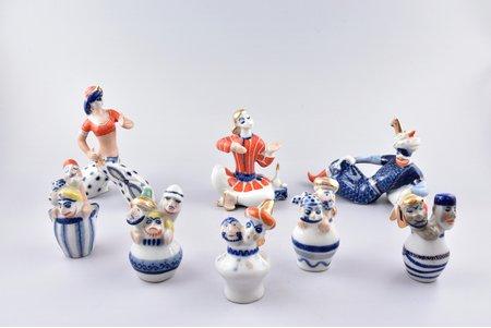 set of 8 figurines, Ali Baba and the Forty Thieves, porcelain, USSR, Korosten Porcelain Factory, molder - Valentina Mikhailovna Tregubova, 1960-1991, 8.8 - 15 cm, first grade