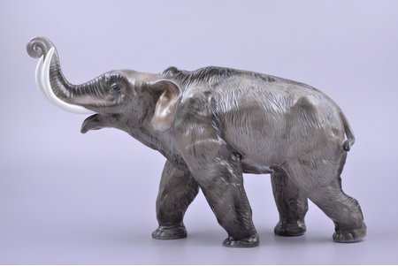 figurine, Elephant, porcelain, Germany, Rosenthal, the 40ies of 20th cent., h 20.7 cm