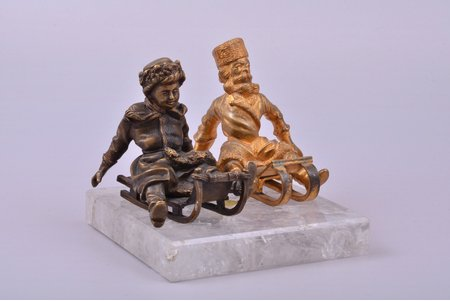 """figurative composition, """"Sledge riders"""", old man - gilding, boy - patinated, 9.5 x 12.4 x 12.4 cm, weight 1333.2 g., Russia, the 19th cent., on the rock crystal base"""