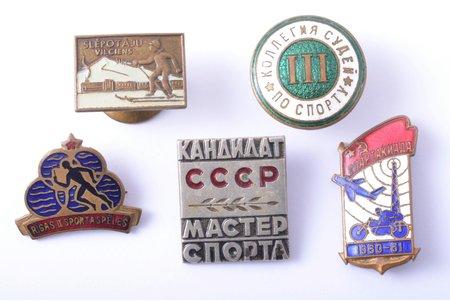 set of 5 badges, sport, USSR
