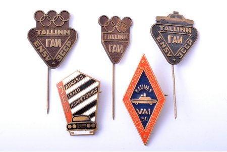 set of 5 badges, State Vehicle Inspection, USSR, Lithuania, Estonia