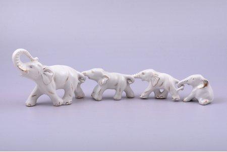 figurine, Elephants, porcelain, Riga (Latvia), USSR, Riga porcelain factory, the 70-80ies of 20th cent., h 9.1 / 4.5 / 4.4 / 4 cm