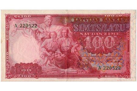 100 latu, banknote, 1939 g., Latvija, VF