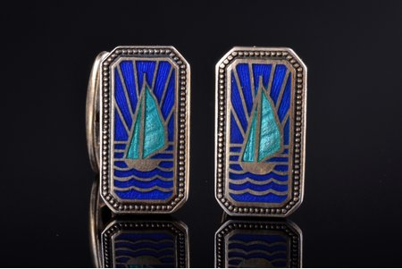 """cufflinks, """"Sailing ships"""", silver, enamel, 875 standart, 8.70 g., the item's dimensions 2.2 x 1.2 cm, 1953, """"Moscow Jeweller"""" artel, Moscow, USSR"""