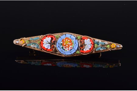 a brooch, micromosaic, metal, the item's dimensions 6.2 x 1.4 cm, Italy