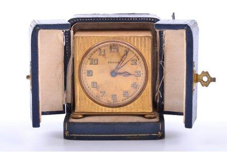 """galda pulkstenis, """"Zenith"""", Francija, 210.40 g, 5.6 x 5.7 x 3.5 cm, 42 mm, futlārī, darbojas labi"""