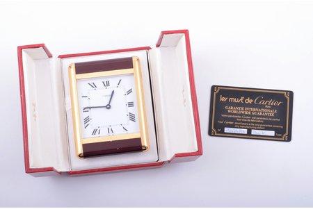 """galda pulkstenis, """"Cartier"""", kvarca, Šveice, 20. gs. 80tie gadi, 380.90 g, 9.7 x 7.2 cm, futlārī, ar garantijas karti"""