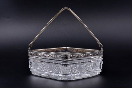 candy-bowl, silver, 84 standart, gilding, crystal, 1908-1917, Moscow, Russia, 16.1 x 16.1 cm, h (with handle) 19 cm, chip on the surface of the corner, there are traces of everyday use