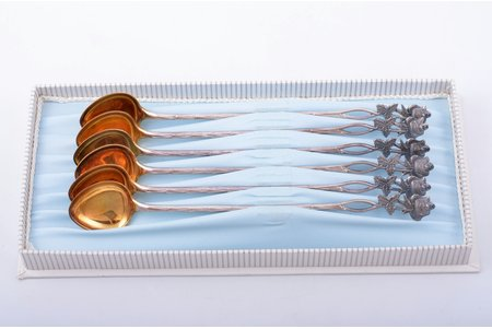 set of 6 latte spoons, silver, 830 standart, gilding, 79.25 g, Finland, 16.9 cm, in a box